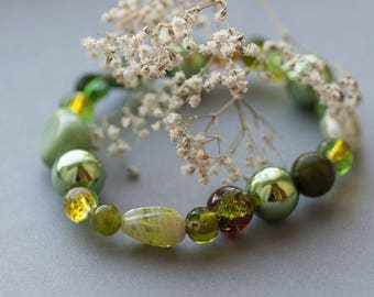 SALE Green Bohemian Bracelet, Romantic Green Jewelry, Unique Natural Green Bracelet