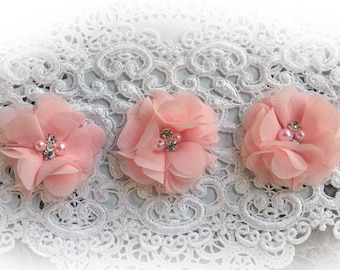Reneabouquets Flower Set -Soft Pink Chiffon Pearl And Rhinestone Fabric Flowers