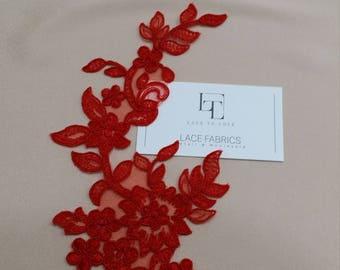 Red applique, French Chantilly lace applique, 3D bridal lace applique, M0070