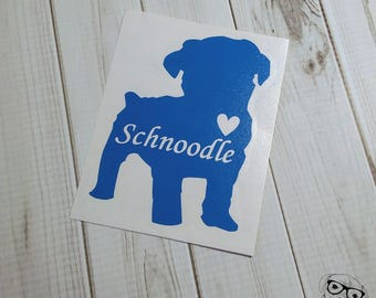 Schnoodle Decal, Schnoodle Car Decal, Schnoodle Laptop Decal, I love my Schnoodle Decal - You choose size and color.