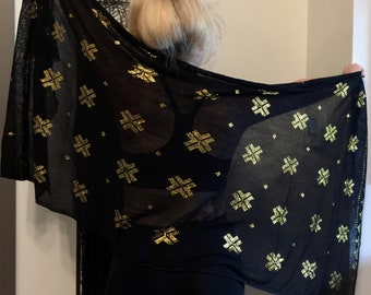 Black with GOLD SOFT Egyptian Assuit Modern Shawl