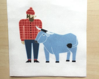 Paul Bunyan & Babe Fabric Mini Panel