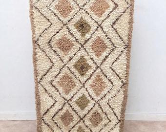 "Moroccan Boucherouite rug,""N51"", Beni ouarain boucherouite, Vintage  rug, Berber rug, Moroccan decor, Boucherouite carpet, Boucharouette"