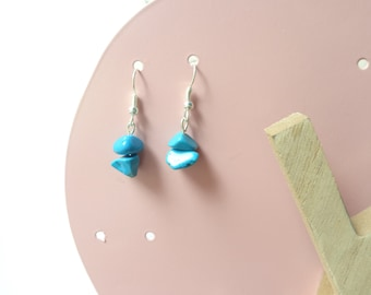 Earrings pearls in natural turquoise