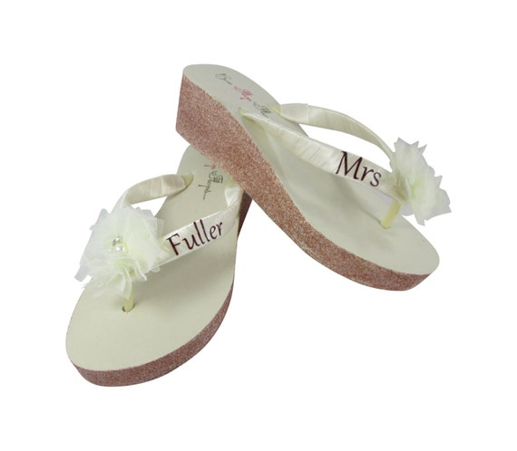 Mrs Champagne Gold Ivory Flower Silver Rose Bridal Gold Rhinestone Sparkle Wedge Flops White Pearl Flip Tulle Flower or Glitter ZZ0r1S