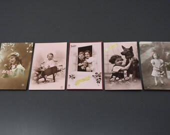 set of 5 antique postcards, france, 1930's, children, babies, girls, vintage