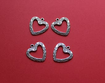4 silver engraved heart charms