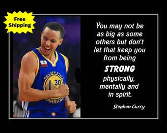 Basketball Wall Art Inspirational Quote Poster Motivation Decor Hoops Photo Print Champion Gift Stephen Curry 5x7 11x14