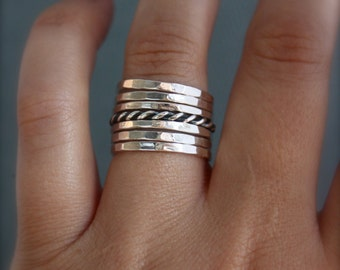 Set of 7 sterling silver stacking rings.Rustic band rings.Hand made, custom made jewellery.Stackable rings.