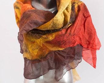 Felt scarf Cobweb wet felted scarf from softest merino wool silk brown orange scarf Weddings accsessorie Spring scarves Felt shawl OAAK