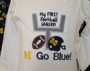 University of Michigan, Michigan,  Wolverines, Wolverine, football, bodysuit, baby shower gift, new baby gift, baby gift, baby boy clothes