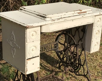 Vintage Singer Sewing Machine Treadle Table Repurposed Entryway Table Shabby Chic Industrial Upcycled