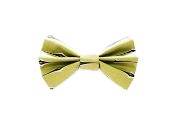 Green and Navy Bow Tie - Fabric Bow Hair Clip or Bow Tie - Donald Bow - Army Green Hair Bow - dainty and Dapper