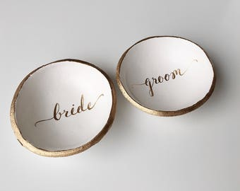 Unique Wedding Gift / Ring Holder / Bridesmaids Gift / Jewelry Dish / Engagement Gift / Gift for Her / Bride and Groom / Personalized Ring D