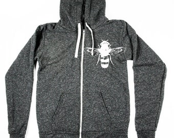 Bee Hoodie, Unisex Tri-Blend Hoodie, Heather Black Hoody - Small, Medium, Large, XL, 2X - Clothing - Made in USA, Hoodie Sweatshirt, Bees