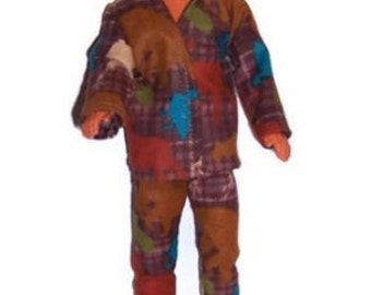 His Fashion Doll Clothes-Moose/Bear Print Flannel Pajamas
