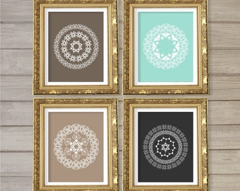 Geometric Circle Mandala Medallion Pattern Printable Wall Art Set of 4 Gray Turquoise Taupe -8x10- Instant Download Digital Print Home Decor