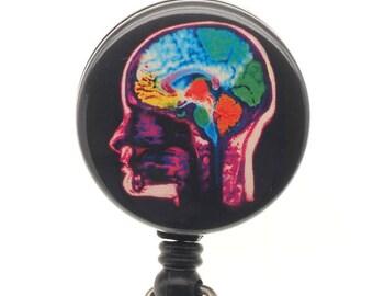 Brain ID Badge Reel - Neurology Badge - Nurse retractable badge holder - SassyBadge - Neuro Badge Clip