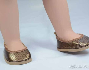 American Girl SHOES Bronze Copper Faux Leather Fifties Ballet Communion Wedding Flats Slippers for American Girl or 18 inch doll