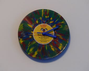 "Snow White and the Seven Dwarfs (Happy Times) | Multi-Coloured 7"" Vinyl Record Clock"