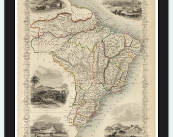Old Map Brasil South America Antique Sudamerika Brazil 1851