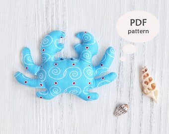 Crab Sewing Pattern. Stuffed Animal Pattern. Stuffed Animal Sewing Pattern. Toy Crab Sewing Pattern. Stuffed Crab Toy Pattern. Nursery Decor