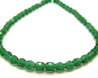 Emerald Green Czech Glass Bead 4mm FP Rounds - 50