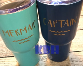 Mermaid and Captain Decal Only