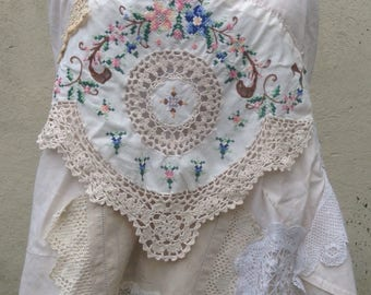 HALTER TOP uk 10/12 embroidered, magnolia ivory, floral embroidery, vintage textiles crochet lace, up-cycled