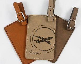 Personalized Luggage Tag - Groomsmen Gift - Bridesmaid Gift - Wedding Gift - Retro Plane - Leatherette Bag Tag - Customized - Engraved