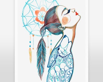 ART PRINT- Sizes: 5x7 / 8x10 / 11x14 - Dreamcatcher, wolf, feathers, girl with wolf, wolf art, dreamcatcher decor