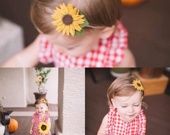 Sunflower Felt Flower Headband/Baby Headband, Newborn Headbands, Small Flower Headband, Infant Headband, Toddler Headband