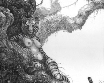 """8""""x10"""" Nude Limited Edition archival art print """"Forest Kingdom"""" / anthro female, tiger, forest art, anthro tigress, nature drawing, furry"""