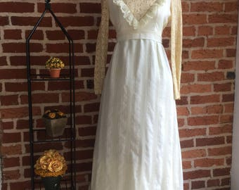 Vintage 60's Prairie Style Lace Ruffle Maxi Dress
