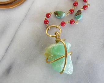 Raw stone, bohemian, green calcite, raw stone jewelry, leather, turquoise, bead and brass adjustable necklace