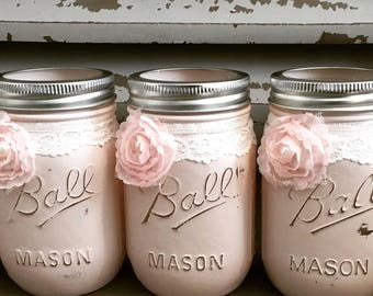 Mason jar centerpieces, distressed farmhouse decor, bridal shower centerpieces, wedding vase, baby shower, pink mason jars, pencil holder