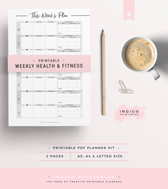 Fitness Planner Weekly Wellbeing