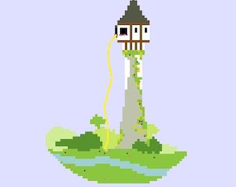 Rapunzel's Tower PDF Cross Stitch Pattern INSTANT DOWNLOAD