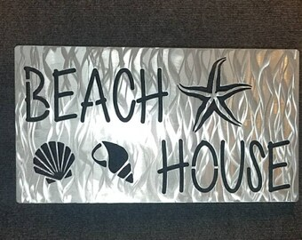 Beach House Sign, Beach Decor, Beach Sign, Beach House Decor, Metal Art, Starfish Sign, Seashell Sign, Tropical Decor, Vacation Home Decor