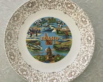 Vintage Idaho Souvenir Plate, The Gem State