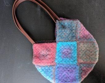 Handmade felted handbag | crochet bag, granny square bag, felted bag, handbag, colourful bag, shoulder bag