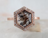 One of a Kind Black Diamond Hexagon Halo Engagement Ring