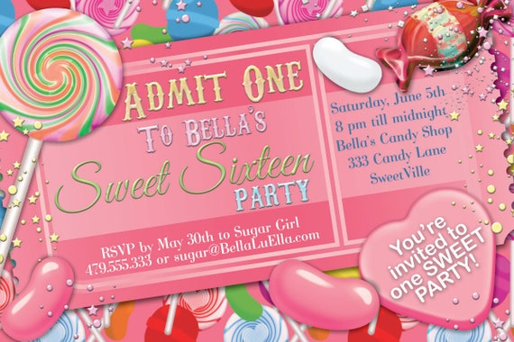 Candy Party Invitation Sweet 16 Party Invitation Candy Land