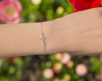 Delicate sterling silver sideways CZ cross bracelet - silver cross - cross bracelet - cz cross - sterling silver - AC121949
