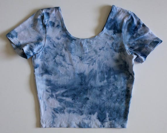 S Blue Watercolor Crop Tee