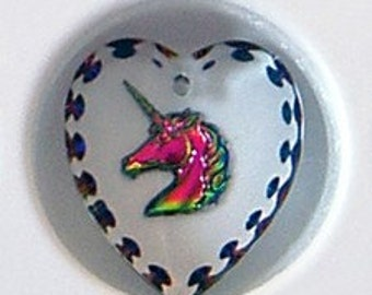 20mm Austrian Crystal VITRAIL MEDIUM Unicorn Pendant Etched Heart Shape