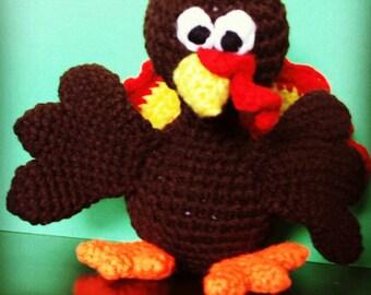 Hand-crafted crochet turkey stuffed toy