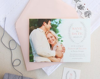 Photo Save the Date Cards in Gray and Blush with Laurel Wreath Design