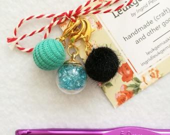 Progress keepers, set of 3 different ones, stitch markers, zipper hanger, charm, knitting jewellery, crochet jewellery