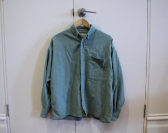 Large Blue Green Long sleeve Oxford Shirt